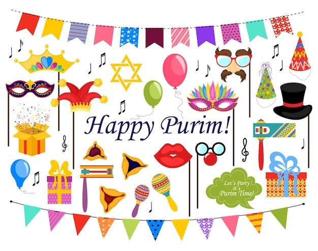 Purim clipart met carnaval elementen gelukkig purim joods festival carnaval ontwerp voor joodse vakantie ...