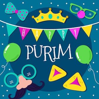 Purim dag belettering met geïllustreerde elementen