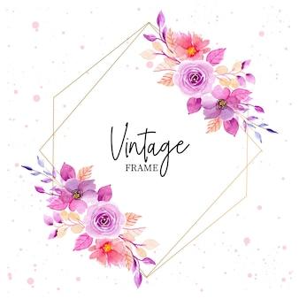 Purle aquarel bloemen vintage frame