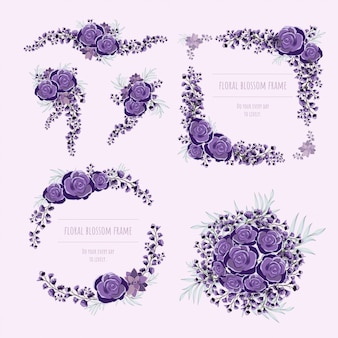 Purper bloemenkader voor uitnodigingskaarten en grafiek.