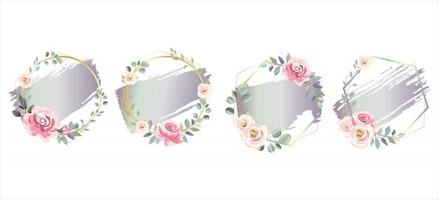 Purper effect van de gradiëntwaterverf met bloemenkaders