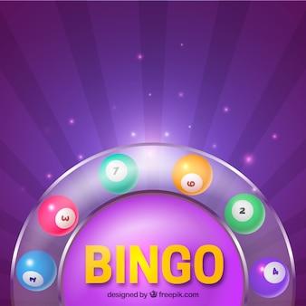 Purpere achtergrond van kleurrijke bingo ballen