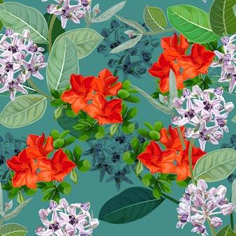 Purpere bloem, calotropis gigantea-bloem of kroon en sesbania-gele bloem, naadloos patroon
