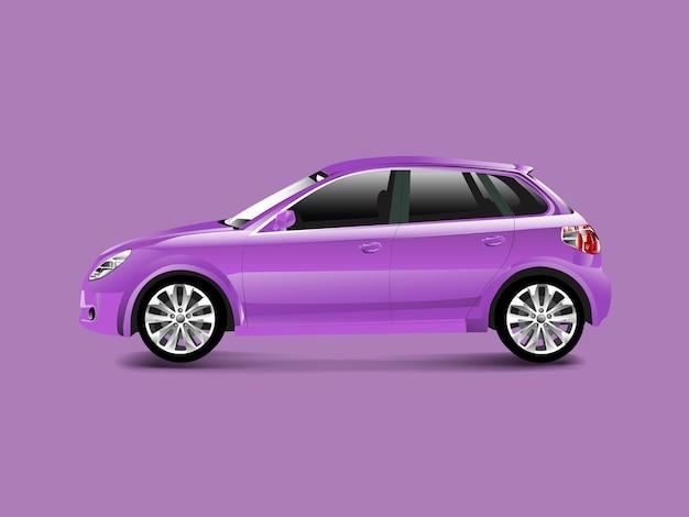 Purpere hatchbackauto in een purpere vector als achtergrond