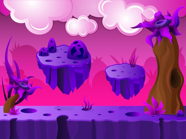 Purple crater land game design