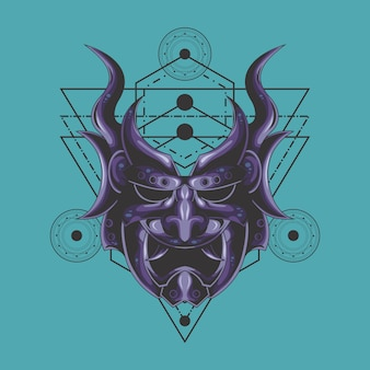 Purple demon mask sacred geometry