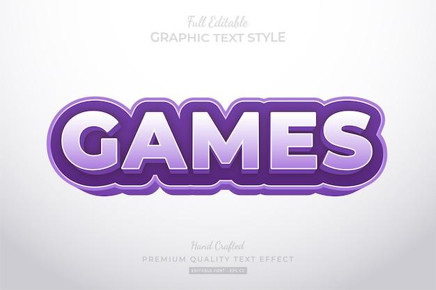Purple games cartoon bewerkbare teksteffect lettertypestijl