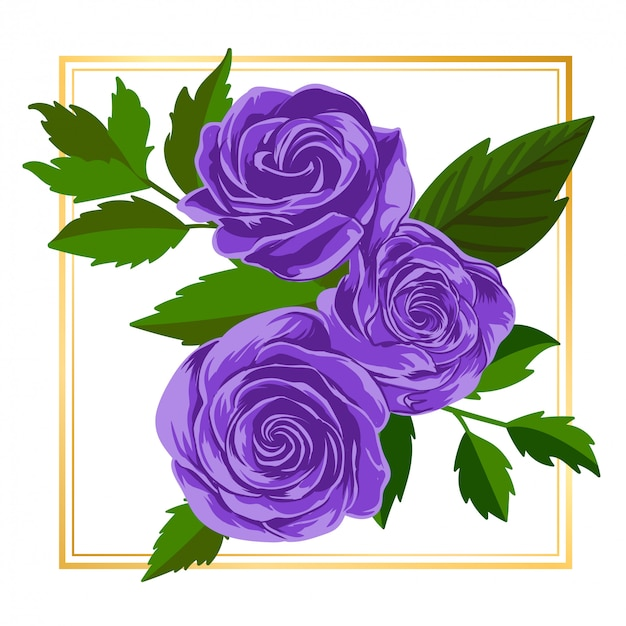 Purple rose floral flower vintage leaf nature