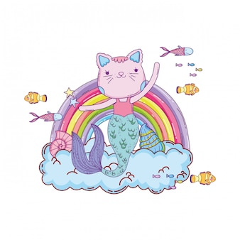 Purrmaid met wolken en onderzeese regenboog