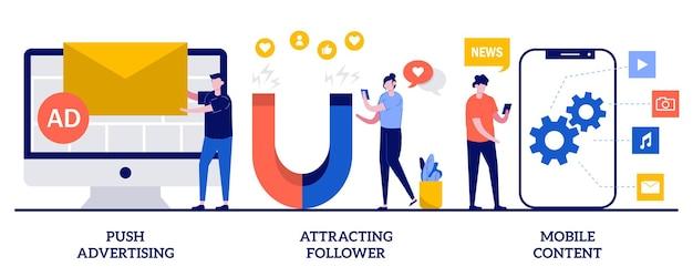Push-advertenties, volgers aantrekken, concept van mobiele inhoud met kleine mensen