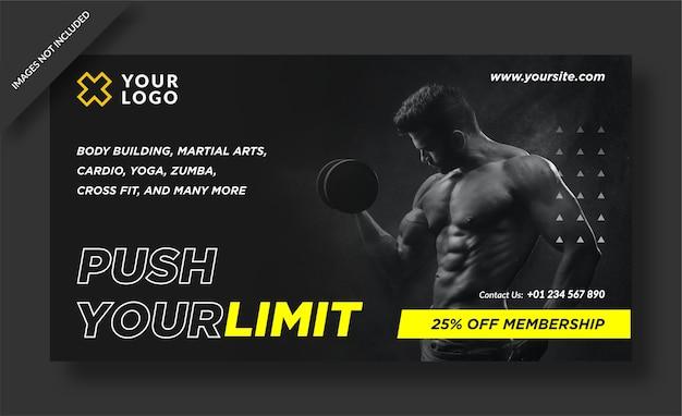 Push je limiet banner voor sportschoolactiviteiten