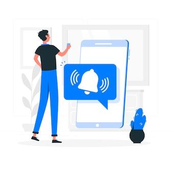 Push-meldingen concept illustratie