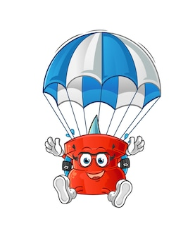 Push pin parachutespringen karakter. cartoon mascotte