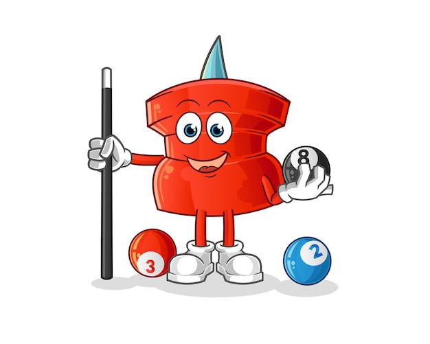 Push pin speelt biljart karakter. cartoon mascotte