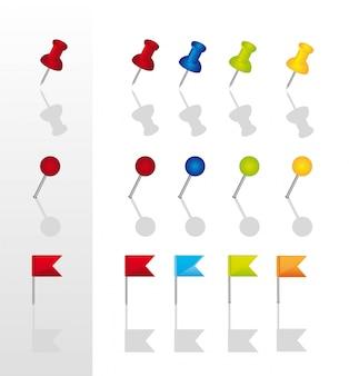 Push pins collectie met schaduw