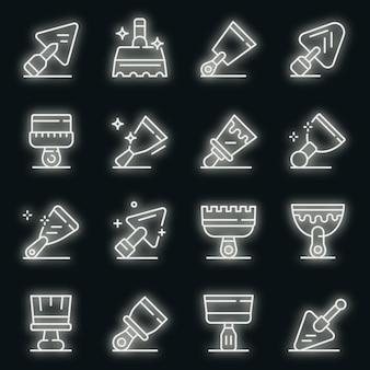Puttees mes pictogrammen instellen. overzicht set van plamuurmes vector iconen neon kleur op zwart