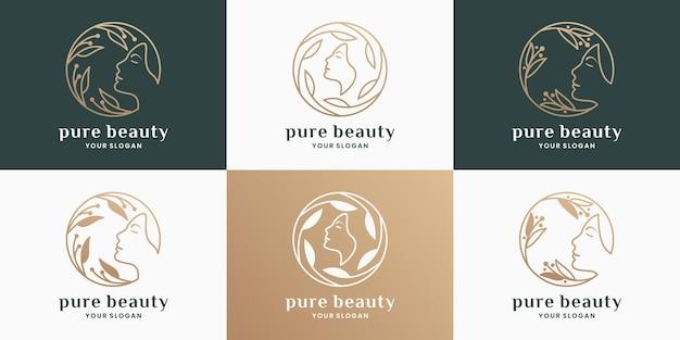 Puur schoonheidslogo-ontwerp voor salon, cosmetica, spa, productlabel