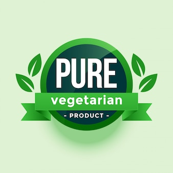 Puur vegetarisch product groene bladeren label