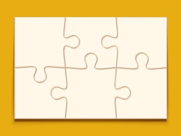 Puzzel 3x2 raster jigsaw met 6 stukjes hersenpuzzels mockup en mozaïek spelsjabloon
