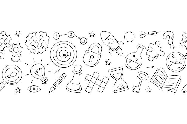 Puzzel en raadsels. hand getekende horizontale patroon met kruiswoordraadsel, doolhof, hersenen, schaakstuk, gloeilamp, labyrint, versnelling, slot en sleutel.