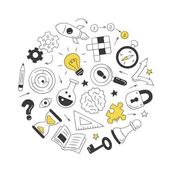Puzzel en raadsels. verzameling van geïsoleerde hand getekende objecten. kruiswoordraadsel, doolhof, hersenen, schaakstuk, gloeilamp, labyrint, uitrusting, slot en sleutel.
