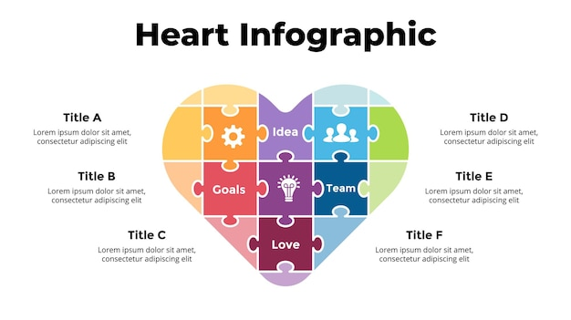Puzzel hartsymbool medische gezondheidszorg infographic