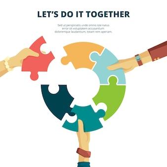 Puzzel in de hand. business concept man zet stukje puzzel samen afwerking werk laatste project goede partners puzzel achtergrond