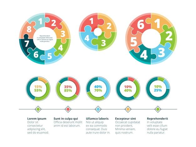 Puzzel infographic. zakelijk succes stappen idee reclame presentatie cirkel puzzels