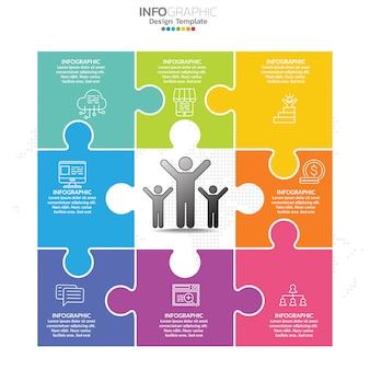 Puzzel infographics ontwerpsjabloon met opties, processchema.