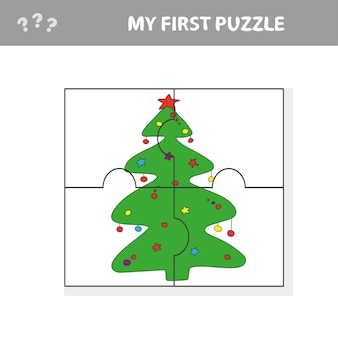 Puzzel kerstboom - vectorillustratie voor kinderen