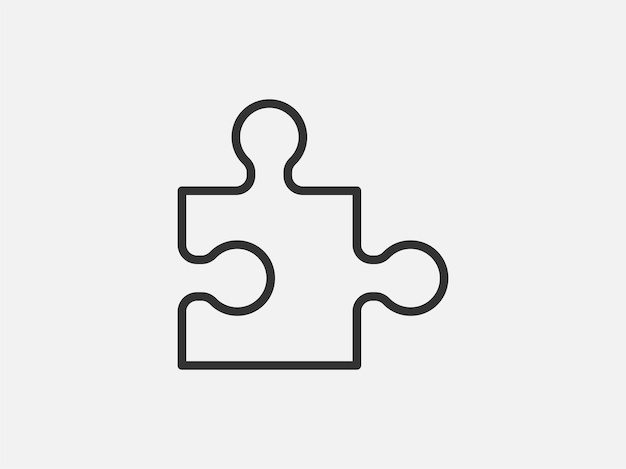 Puzzel speelgoed pictogram op witte achtergrond. lijn stijl vectorillustratie.