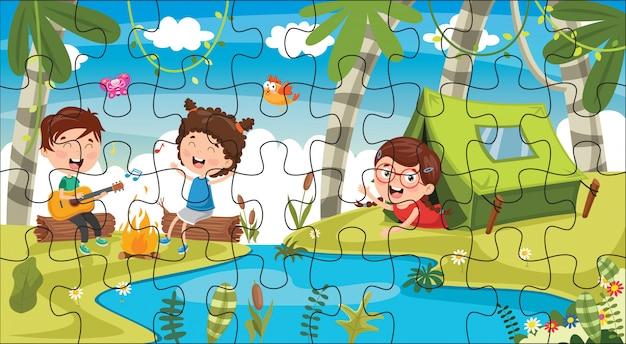 Puzzel spel illustratie voor kinderen