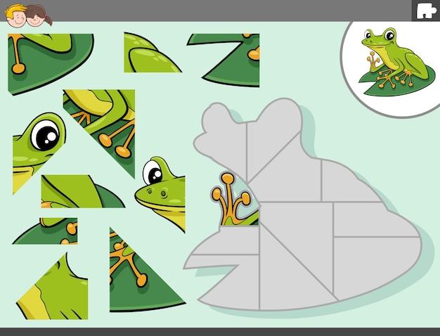 Puzzel spel met groene kikker dier