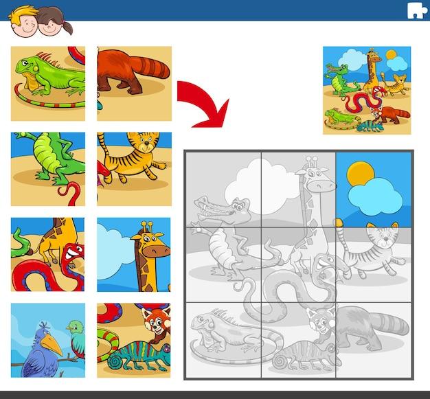 Puzzel spel met wilde dieren karakters