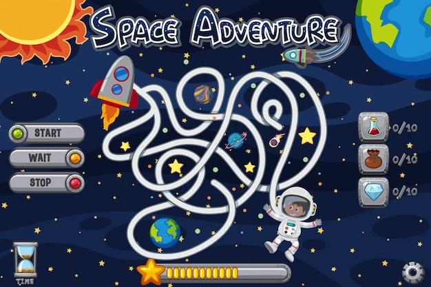 Puzzel spelsjabloon met man in de ruimte