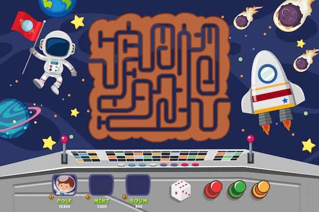 Puzzel spelsjabloon met ruimtevaarder 's nachts