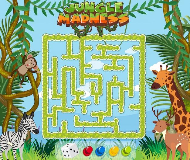 Puzzel spelsjabloon met wilde dieren in de jungle