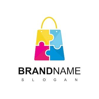 Puzzel tas voor kid store logo design vector
