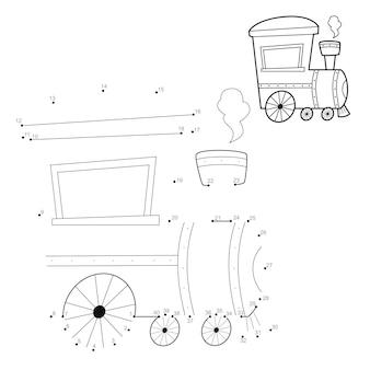 Puzzel van punt naar punt voor kinderen. verbind stippen spel. locomotief illustratie