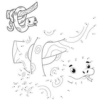 Puzzel van punt naar punt voor kinderen. verbind stippen spel. slang illustratie