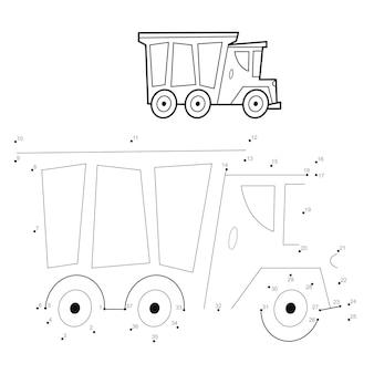 Puzzel van punt naar punt voor kinderen. verbind stippen spel. vrachtwagen illustratie