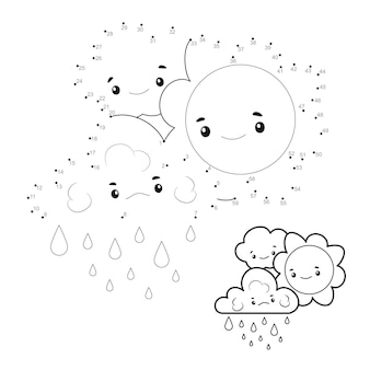 Puzzel van punt naar punt voor kinderen. verbind stippen spel. zon en wolken illustratie