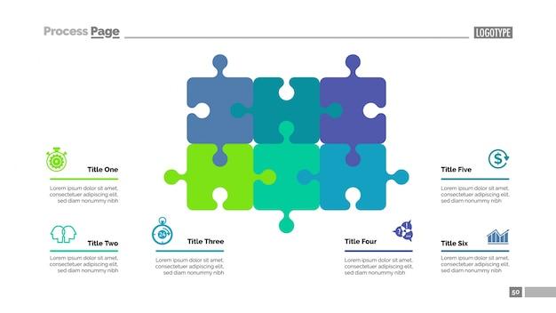 Puzzeldiagram met zes elementen sjabloon