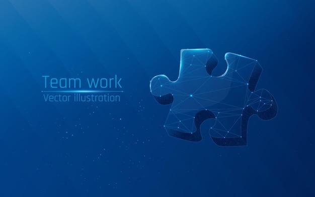 Puzzelelementen symbool van teamwork samenwerking partnerschap associatie en verbinding
