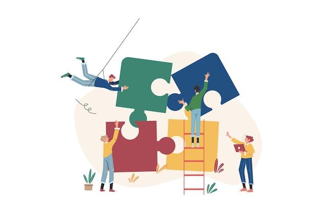 Puzzelelementen verbinden om een nieuw bedrijf te starten