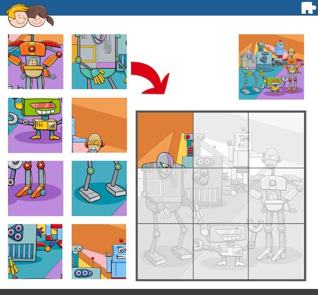 Puzzelgame met komische robotpersonages