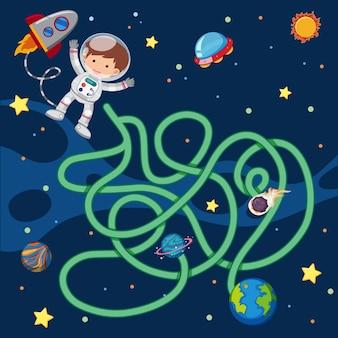 Puzzelgamesjabloon met astronaut vliegen in de ruimte