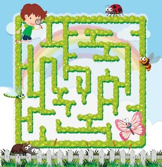 Puzzelgamesjabloon met jongen en veel insecten