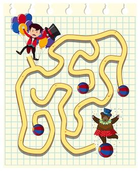 Puzzelgamesjabloon met trainer en circusbeer