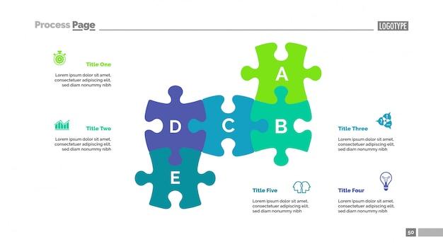 Puzzelkaart met vijf elementen sjabloon